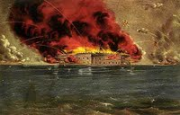 Bombardment of Fort Sumter, Charleston Harbor, a color lithograph by Currier & Ives